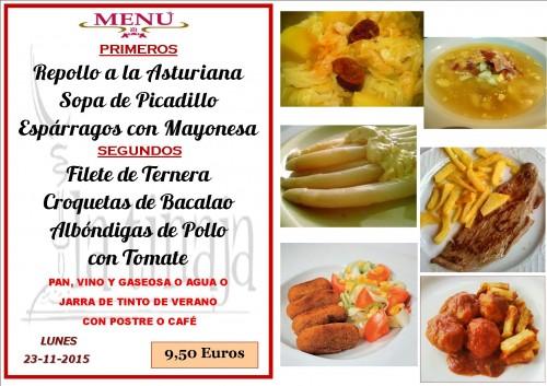 menu del  23 del 11
