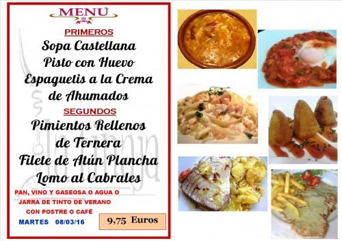 menu del  8 del 3
