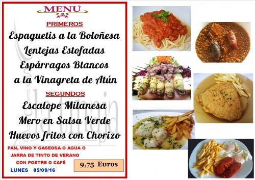 menu del  5 del   9