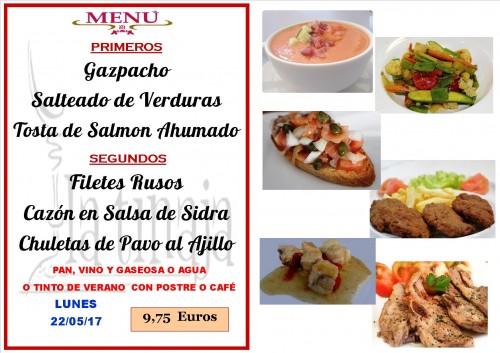 menu del 22 del 5