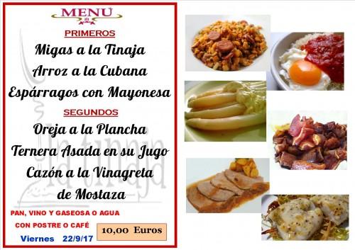 menu del 22 del 9